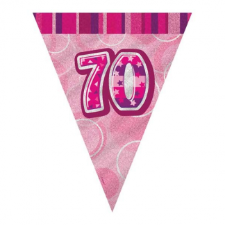 Glitz Birthday 70th Bunting Pink/Silver