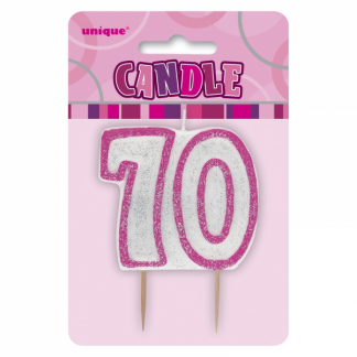 Glitz Birthday 70th Candle Pink/Silver
