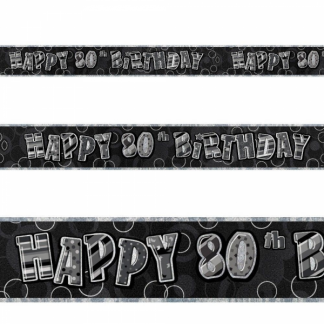 Birthday 80th Banner Black/Silver