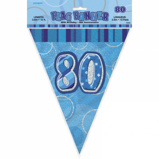 Birthday 80th Bunting Blue/Silver