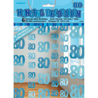 Birthday 80th String Decoration Blue