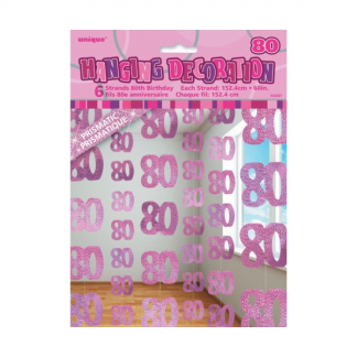 Glitz Birthday 80th String Decoration Pink