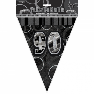 Birthday 90th Bunting Black/Silver