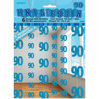 Birthday 90th String Decoration Blue
