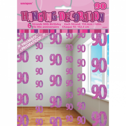 Glitz Birthday 90th String Decoration Pink
