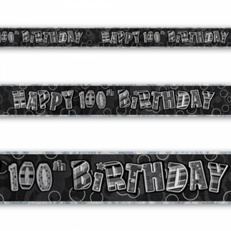 Birthday 100th Banner Black/Silver