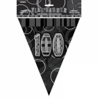 Birthday 100th Bunting Black/Silver