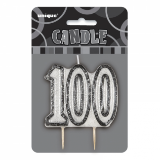Birthday 100th Candle Black/Silver