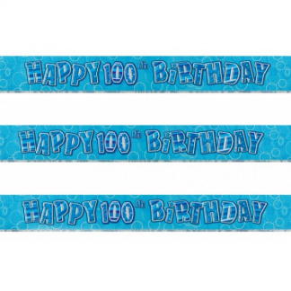 Birthday 100th Banner Blue/Silver