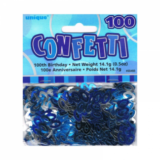 Birthday 100th Confetti Blue/Silver