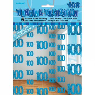 Birthday 100th String Decoration Blue