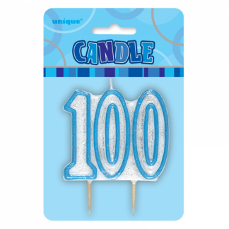 Birthday 100th Candle Blue/Silver