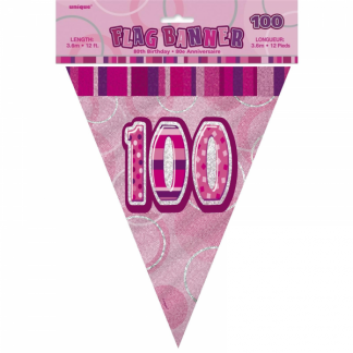 Glitz Birthday 100th Bunting Pink/Silver