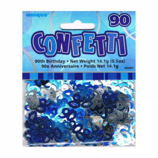 Birthday 90th Confetti Blue/Silver