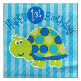 Turtle 1st Birthday Beverage Napkins (16)