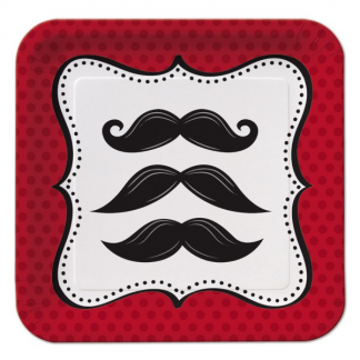 Mustache Madness Plates 7in (8)