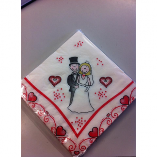 Bride and Groom Heart Napkins (20)