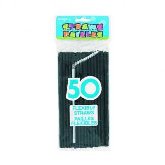 Black Plastic Flexible Straws (50)