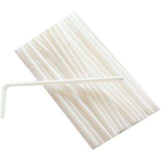 White Plastic Flexible Straws (50)