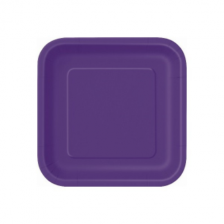 Deep Purple Square Paper Plates 7in (16)