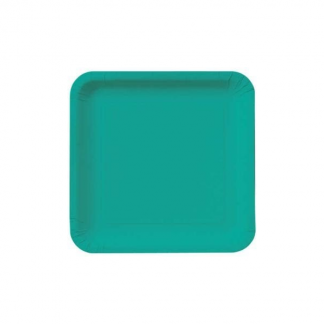 Caribbean Teal Square Paper Plates 7in (16)