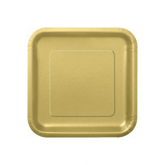 Gold Square Paper Plates 9in (14)