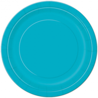 Caribbean Teal Round Paper Plates 9in (8)