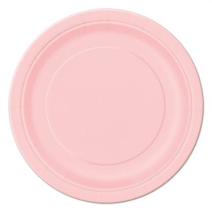 Lovely Pink Paper Round Plates 7in (8)