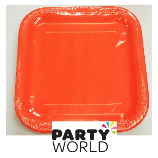Pumpkin Orange Square Plate 9in (14)