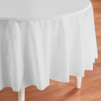 Round White Plastic Tablecover