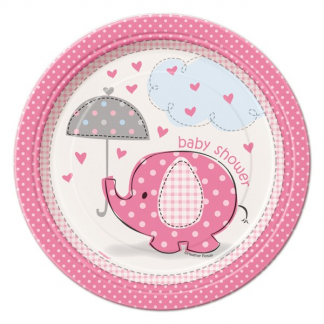Umbrellaphants Pink Plates 7in (8)