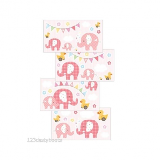 Elephant Wall Art Stickers Pink (211)