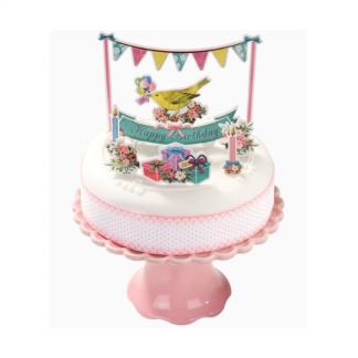 Pretty Floral Frills & Frosting Cake Topper with Ribbon