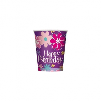 Birthday Blossom Party Cups (8)