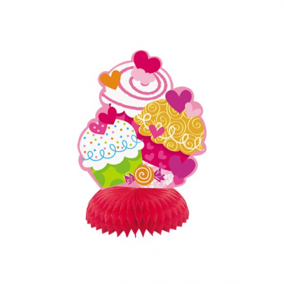 Cupcake Hearts Honeycomb Decorations