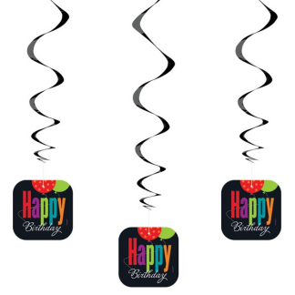 Birthday Cheer Swirls Hanging Decorations