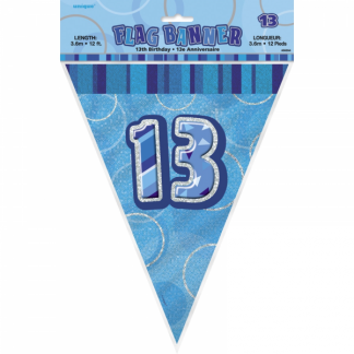 Glitz Birthday 13th Bunting Blue/Silver