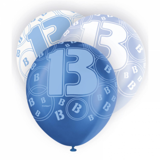 Glitz Birthday 13th Balloons Blue/Silver/White