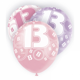 Glitz Birthday 13th Balloons Pink/White/Silver