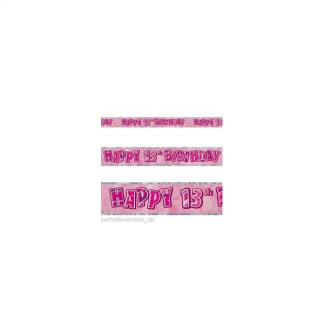 Glitz Birthday 13th Banner Pink/Silver