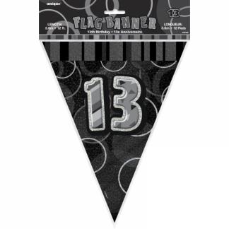 Glitz Birthday 13th Bunting Black/Silver