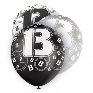 Glitz Birthday 13th Balloons Black/Silver