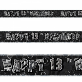 Glitz Birthday 13th Banner Black/Silver