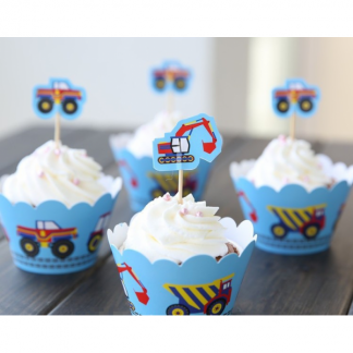 Construction Cupcake Wraps (12)