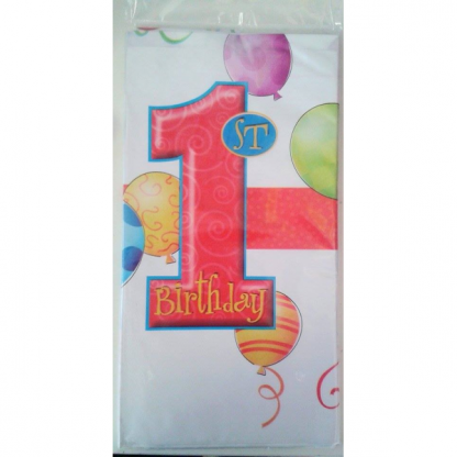 1st Birthday Primary Plastic Tablecover