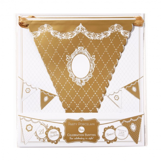 Party Porcelain Gold Celebration Bunting