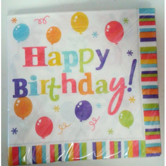 Happy Birthday Balloon Stripe Napkins (20pk)