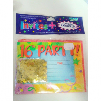 16th Party Invitations (8pk) to clear