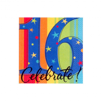 16th Celebrate Stripe Beverage Napkin (16pk)