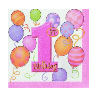 First Birthday Pink Napkin (16pk)